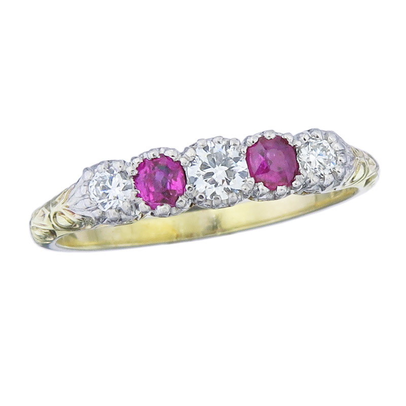 Ring Rubine Diamanten 750er Gelbgold Antik ca. 1920