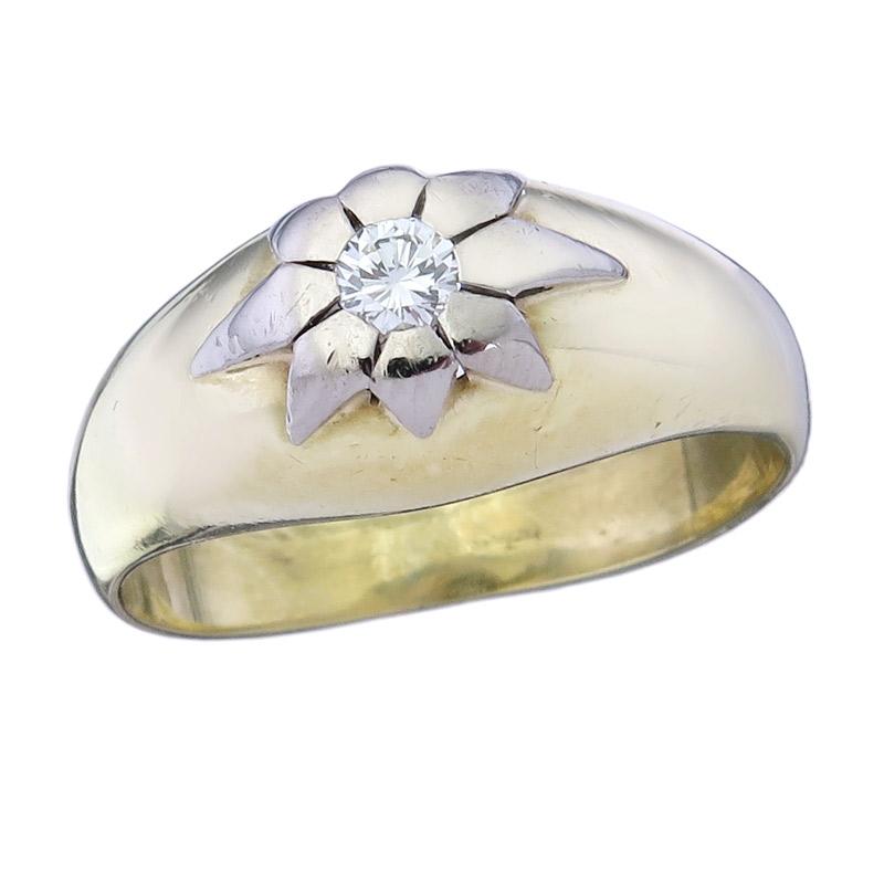 Solitär Ring Brillanten 585er Gelb- und Weißgold