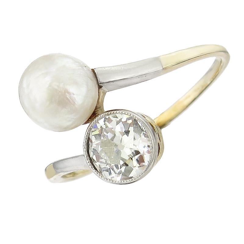Ring Toi et Moi Diamant Perle 585er Gelbgold Antik ca. 1915-20