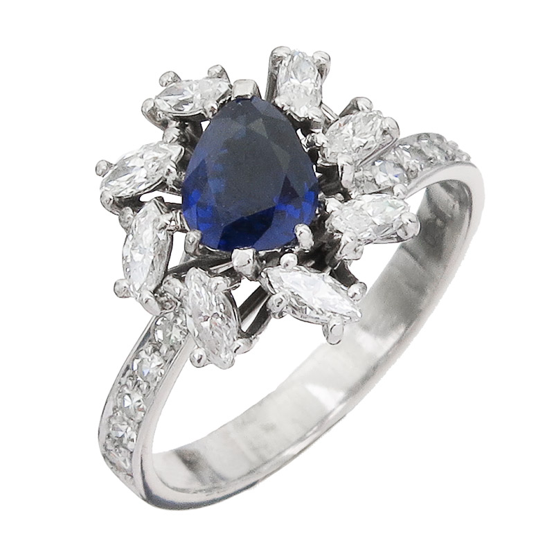 Ring Saphir Navette Diamanten 750er Weißgold