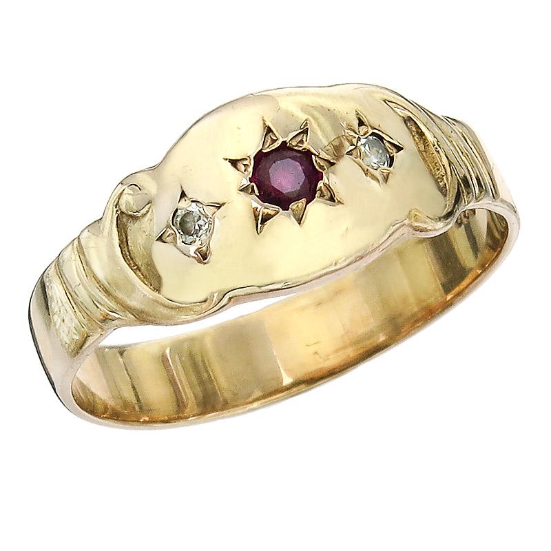 Ring Farbstein 333er Rotgold Antik