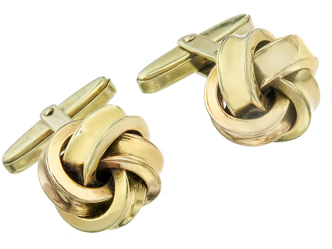 Cufflinks Knots 14 Karat Yellow Gold