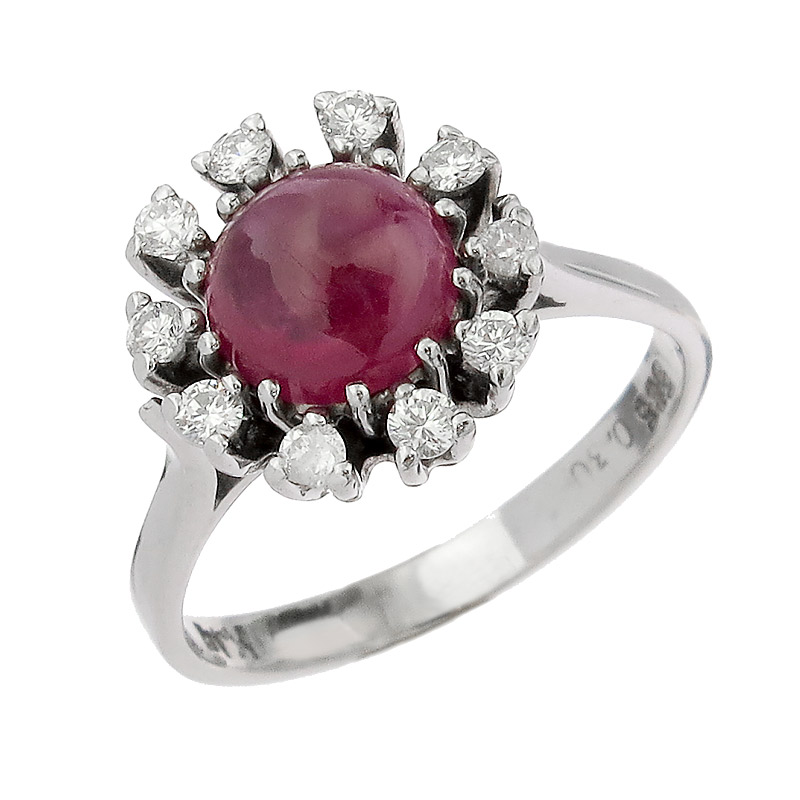Ring Rubies Diamonds 14 Karat White Gold
