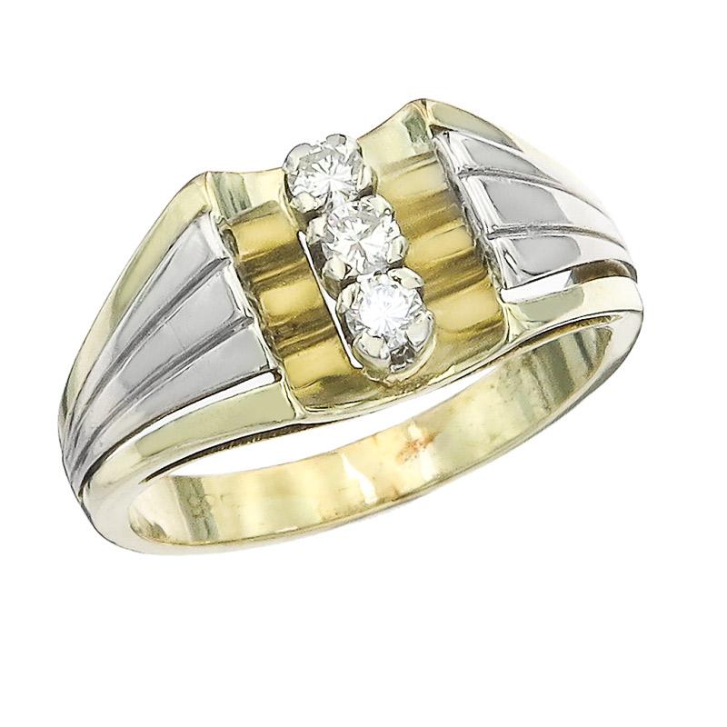 Ring Diamonds 14 Karat Yellow and White Gold Retro around 1960