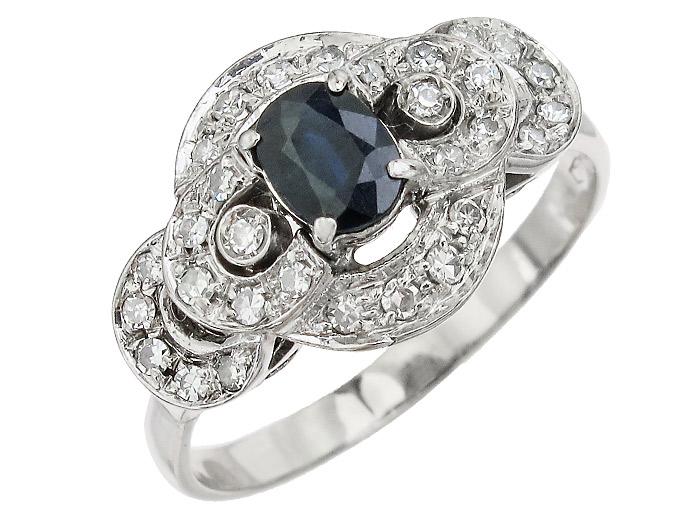 Ring Saphir Diamanten 750er Weißgold