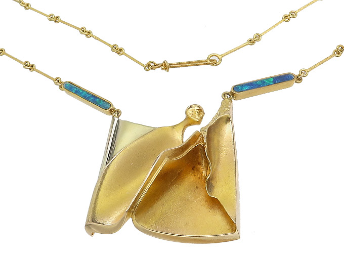 Lapponia Collier Opale 585er Gelbgold B8 1979
