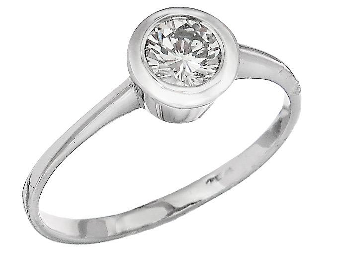 Solitär Ring Brillant ca. 0,33 Carat 750er Weißgold