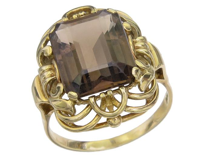 Ring Rauchquarz 585er Gelbgold Retro um 1950