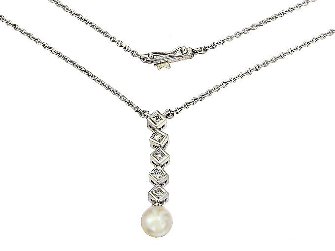 Collier Perle Diamanten 585er Weißgold