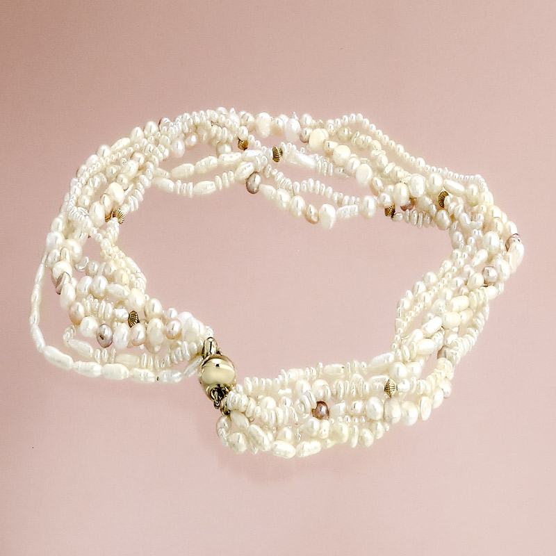 Pearl Collier Freshwater-Pearls Magnetic Clasp 14 Karat Yellow Gold