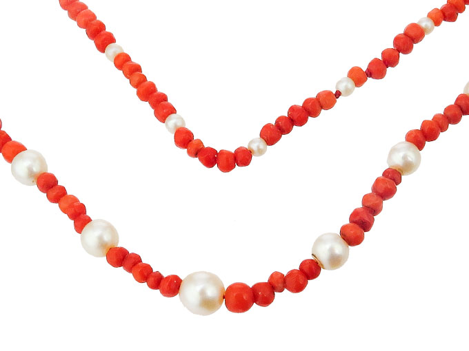 Necklace Endless Corals Pearls