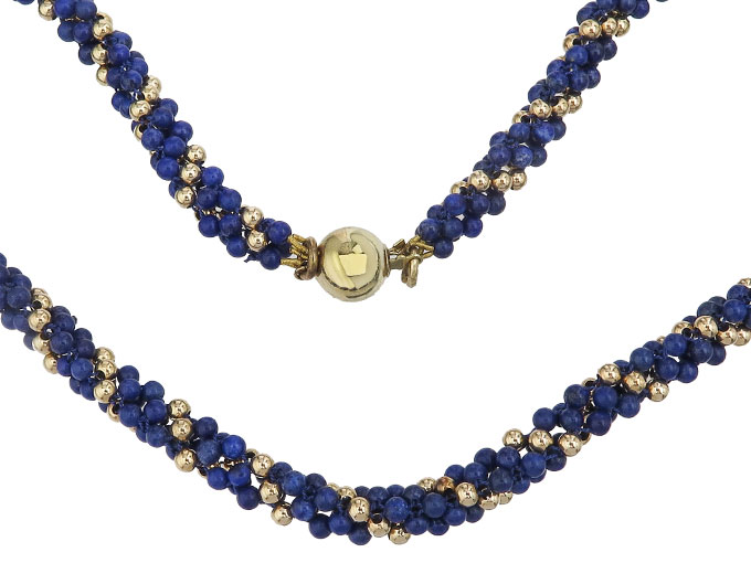 Necklace Lapis Lazuli 14 Karat Yellow Gold