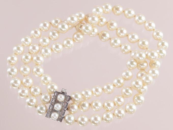Perlen Armband Dreireihig 585er Weißgold