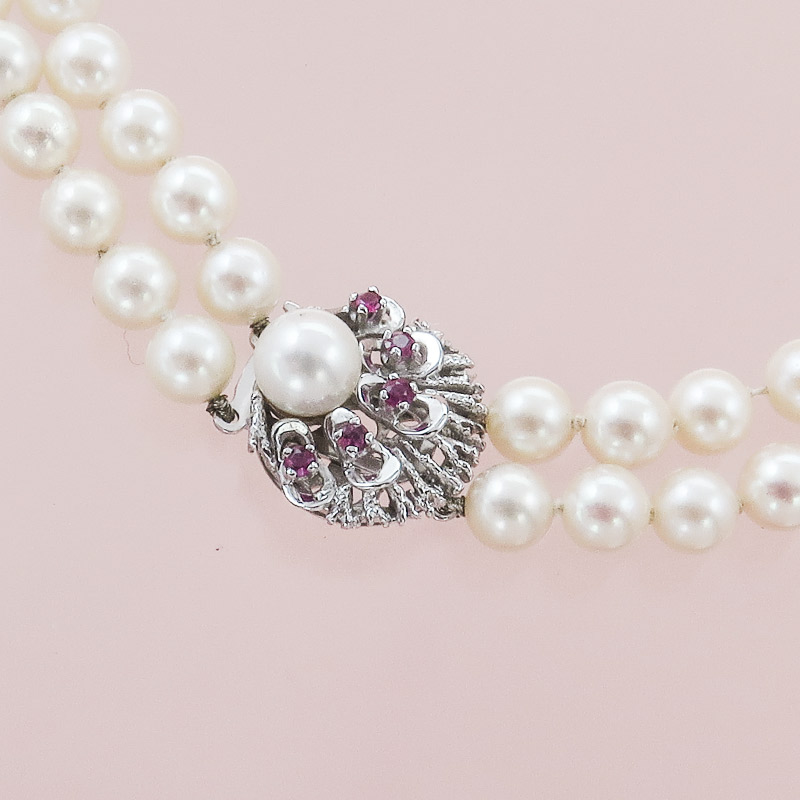 Pearl Necklace Two-Row Rubies 14 Karat White Gold