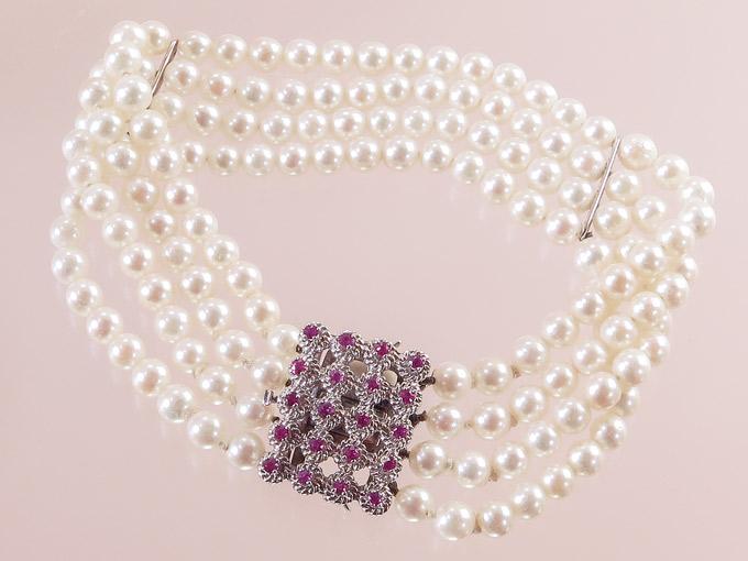 Pearl Braclet Four-Row Rubies 18 Karat White Gold