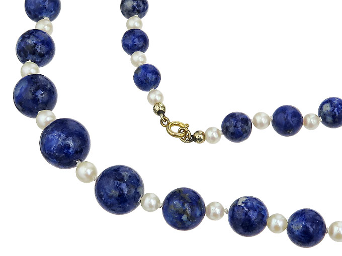 Necklace Pearls Lapis Lazuli 8 Karat Yellow Gold