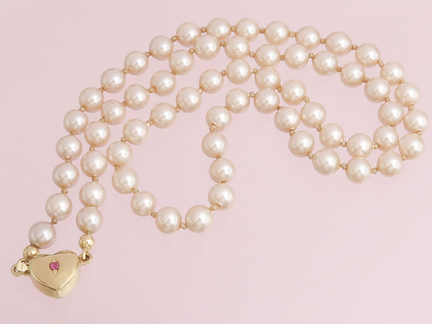 Pearl Collier Heart Clasp 8 Karat Yellow Gold