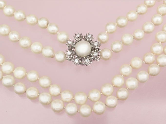 Pearl Collier Two Row Diamonds 14 Karat White Gold