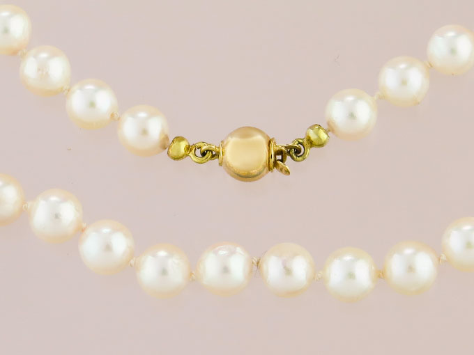 Pearl Necklace 14 Karat Yellow Gold