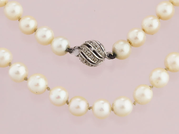 Pearl Necklace One Row Diamonds 14 Karat White Gold