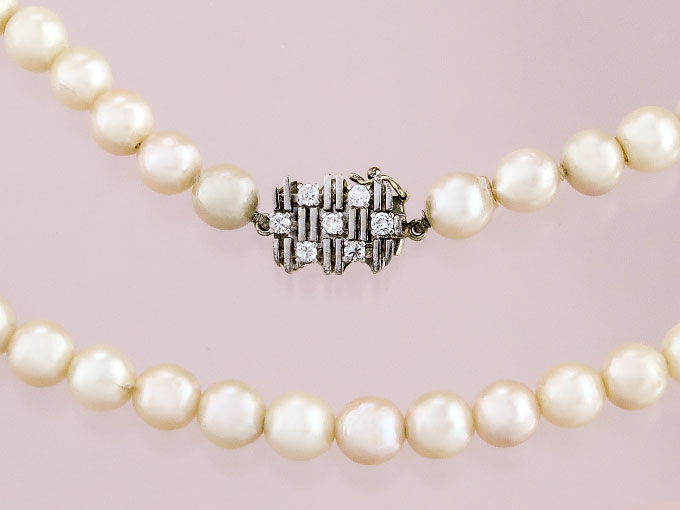 Pearl Necklace Diamonds 14 Karat White Gold