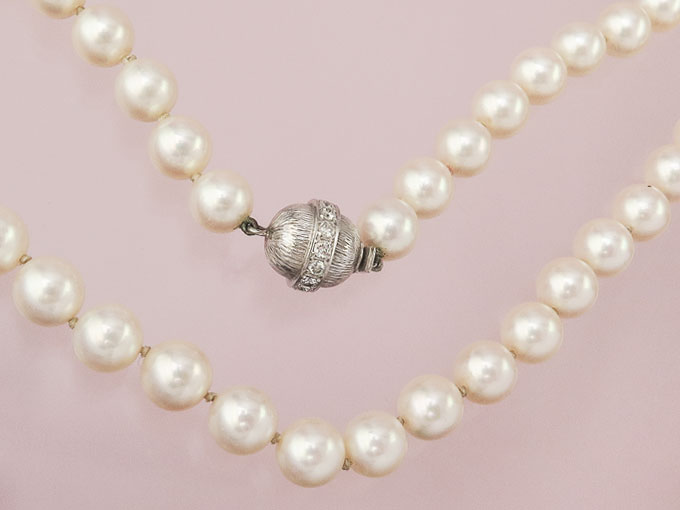 Pearl Necklace Diamonds 18 Karat White Gold