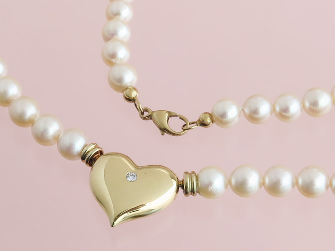 Perlen Collier Herz Wechselschließe 585er Gelbgold