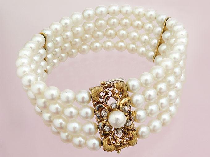 Perlen Armband Vierreihig Antike Schließe 750er Gelbgold