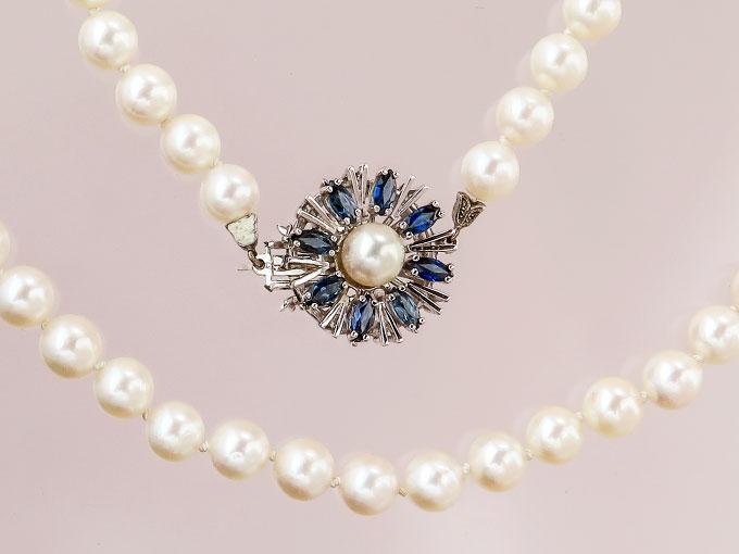 Perlen Kette Saphire 585er Weißgold
