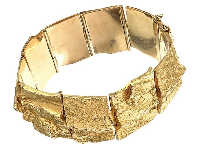 Lapponia Armband GOLDEN RIVER 585er Gelbgold Björn Weckström ca. 1974