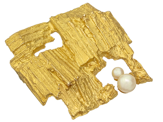 Laoopnia Brooch ETUDE 14 Karat Yellow Gold 1978