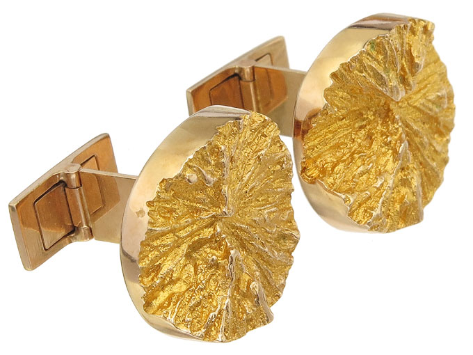 Lapponia Cufflinks DEVIL WHEELS 14 Karat Yellow Gold
