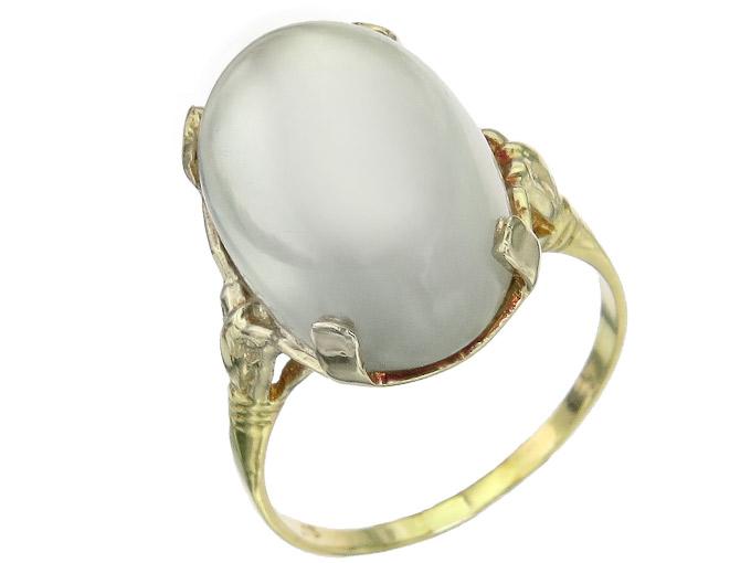 Ring Mondstein 750er Gelbgold