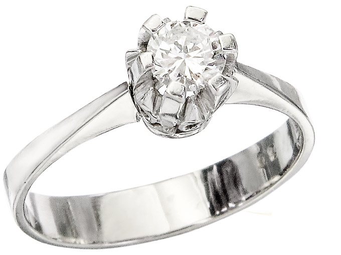 Solitaire Ring Diamond approx. 0.30 Carat 14 Karat White Gold
