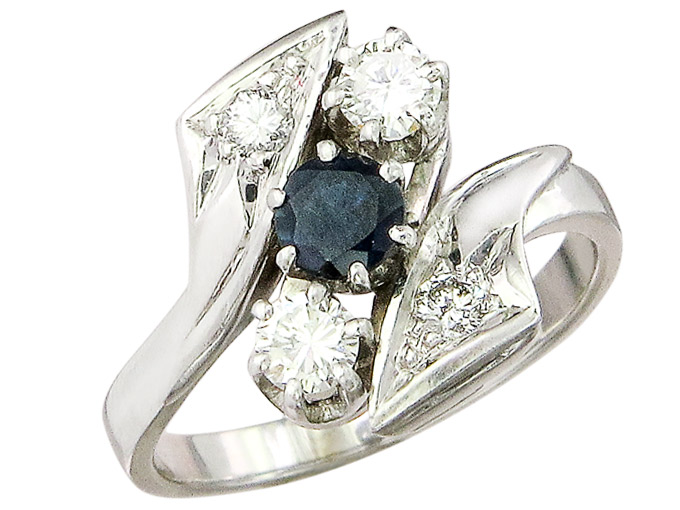 Ring Sapphire Diamonds 14 Karat White Gold