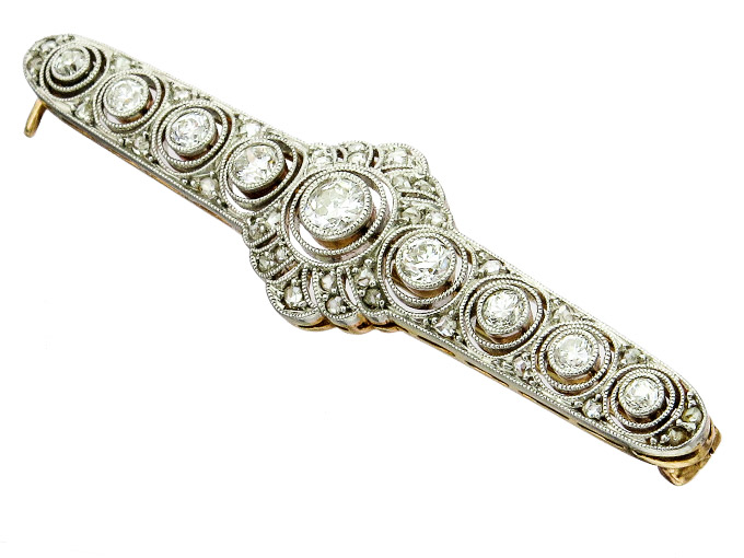 Brooch Art Dèco Diamonds 585 White Gold 950 Platinum