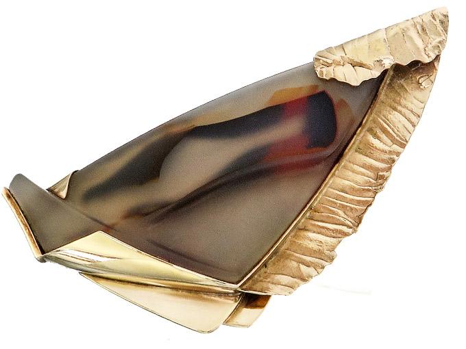 Brosche 585er Gelbgold Sterling Silber Marga Spiegel