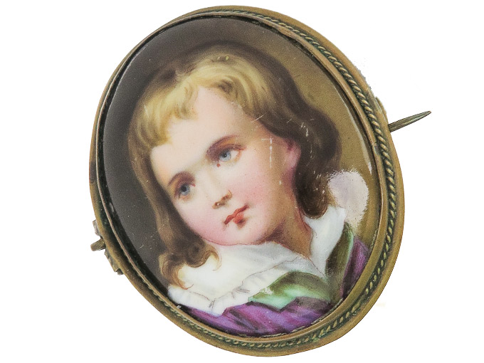 Brooch Antique problably Porcelain Painting
