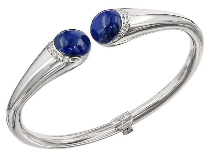Armspange Lapis Lazuli Diamanten 750er Weißgold Zertifikat