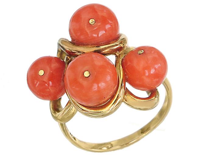 Ring Korallen 750er Gelbgold Antik ca. 1910-20