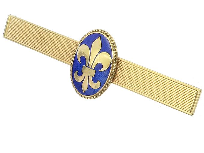 Krawatten Spange Emaille Lilie 585er Gelbgold