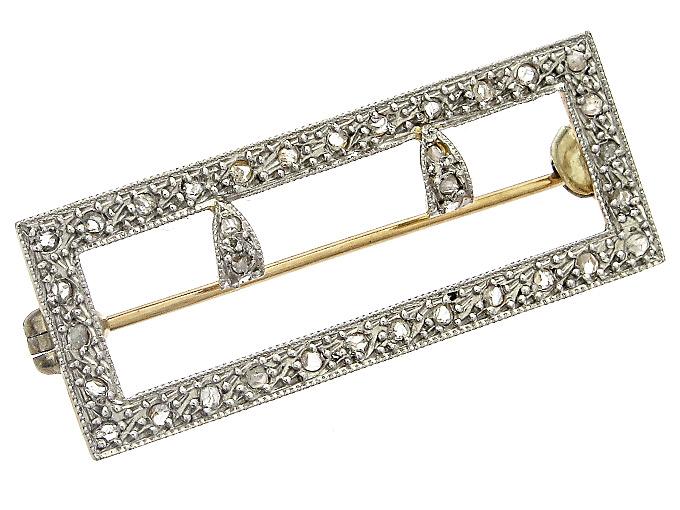 Brooch Belt Buckle Diamonds 18 Karat Yellow Gold