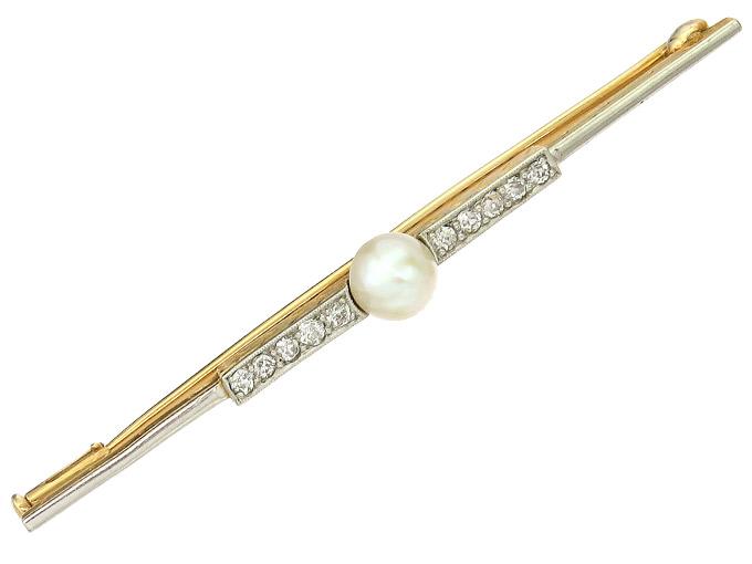 Brosche Perle Diamanten 585er Gelbgold Art Déco um 1920