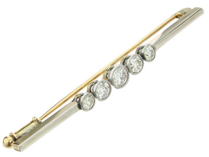 Brooch Old Cut Diamonds 14 Karat Yellow Gold Art Déco