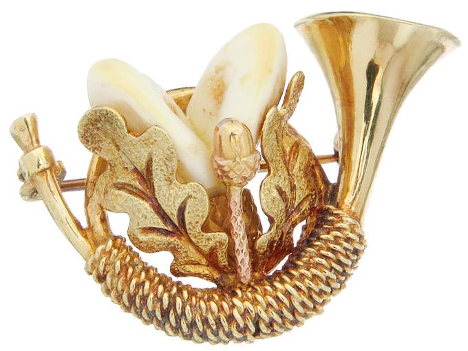 Brosche Jagdhorn Grandeln 585er Gelbgold