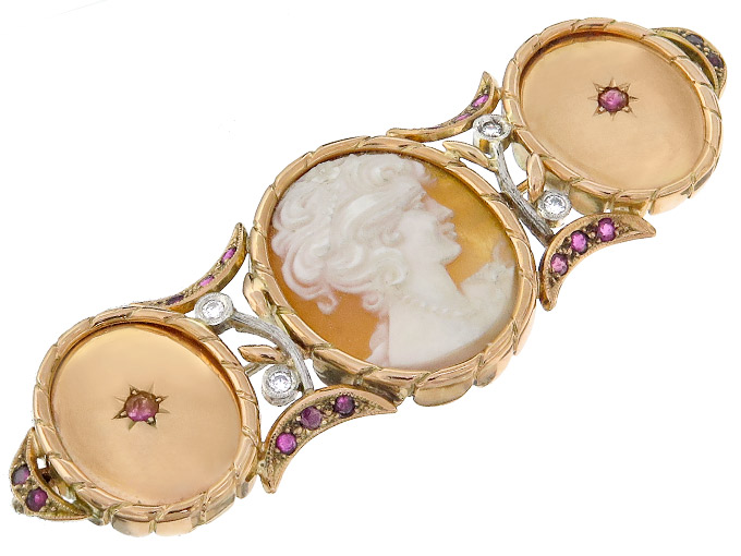 Brooch Cameo Retro Diamonds Rubies 14 Karat Pink Gold