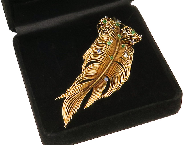 Brooch Feather Diamonds Colored Stones 18 Karat Yellow Gold