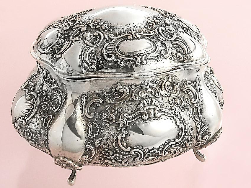 Zuckerdose Deckeldose vor 1900 800er Silber