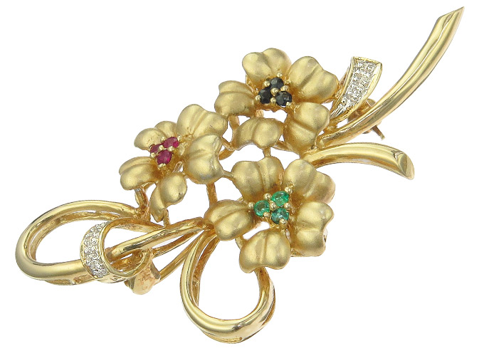 Brooch Blossoms Colored Stones 14 Karat Yellow Gold