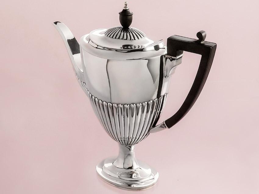 Kaffeekanne Silberkanne England 1902